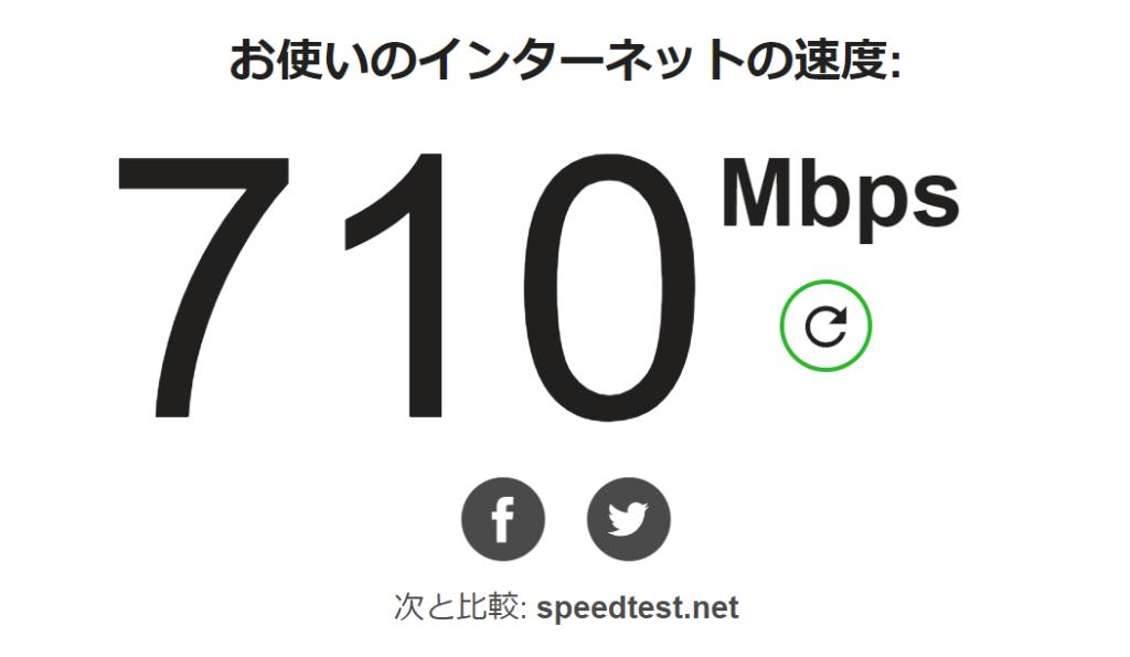 NURO 光 速度 710Mbps