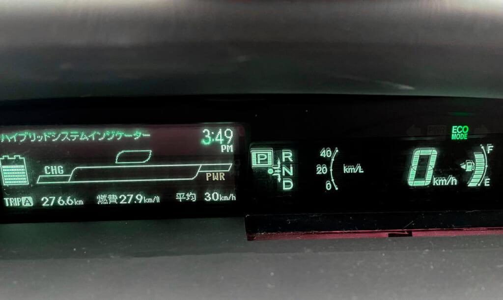 プリウス30 前期 メーター 燃費 27.9km/L